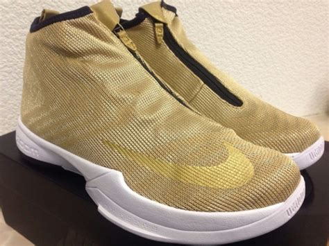 zipper basketball shoes detailed look at the nike zoom icon in metallic gold