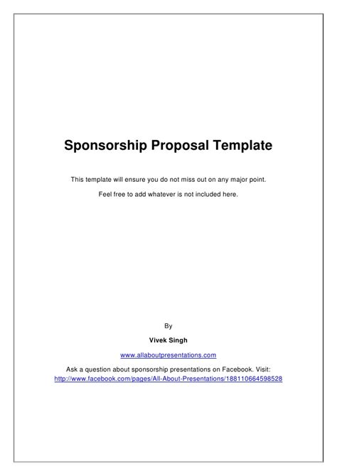 sponsorship marketing plan template sponsorship template