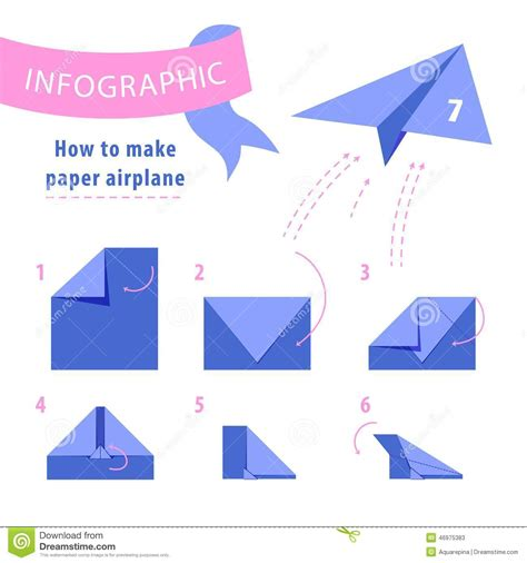 How To Make Paper Aeroplane Step By Step - infographic to make paper airplane stock