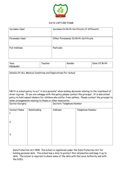 data capture card template data capture form printable pdf
