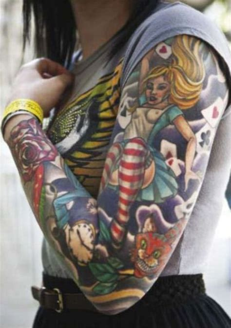 alice in wonderland tattoo sleeve in sleeve