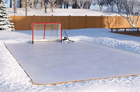 white reflective backyard ice rink plastic polytarp