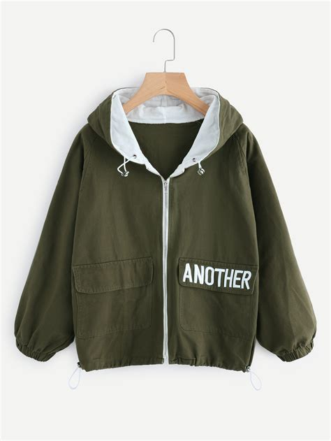 Hem Cooling Army Promo hooded letter embroidered drawstring hem jacket shein sheinside
