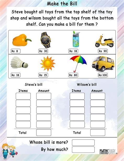 make a worksheet make a bill mathsdiary