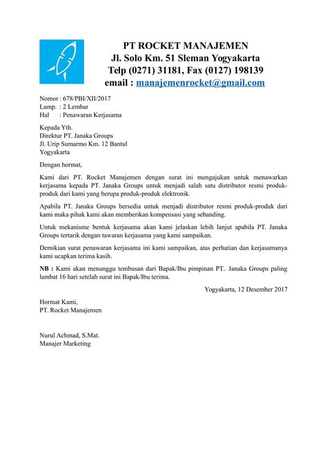 contoh surat permohonan kerjasama yang baik dan benar