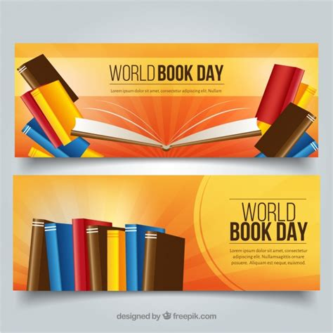 day books banners for celebration of world book day vector free