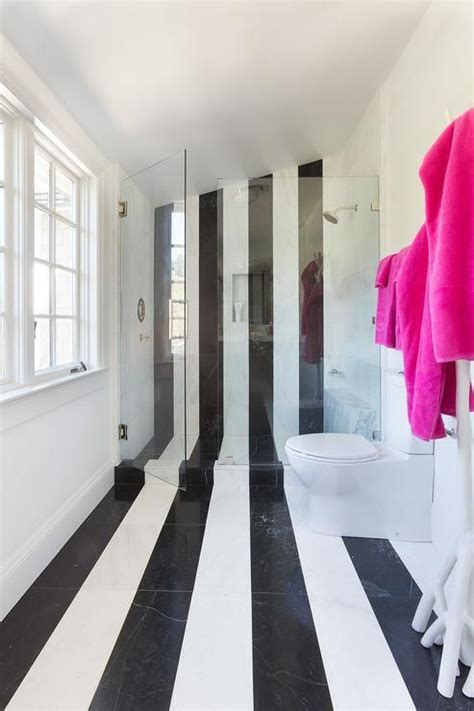 bathroom tile vertical stripe contemporary kid s bathroom features black and white