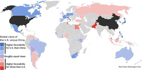 map of usa vs china a revealing map of how the world views china vs the u s