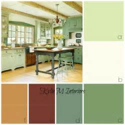 amazing What Color To Paint Walls With White Kitchen Cabinets #10: ideas-for-rustic-farmhouse-or-country-style-kitchen-cabinets.-Benjamin-Moore-Guilford-Green-and-other-colours-are-used-in-this-palette.jpg?resize=600%2C600
