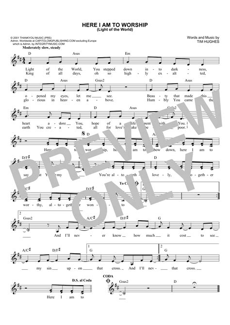 i am the light of the world hymn here i am to worship light of the world sheet music direct