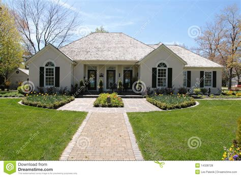 landscape house nice house with symmetrical landscaping stock photo