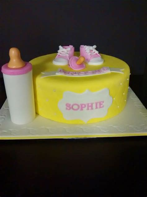 Pink And Yellow Baby Shower Cake by Yellow And Pink Baby Shower Cake Cherry With A Cake On Top