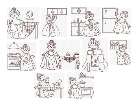 free kitchen embroidery designs vintage redwork machine embroidery designs redwork grannies in the kitchen set of 10 size 4 x