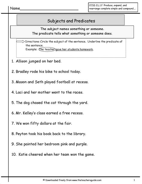 Identify The Subject Of A Sentence Worksheet wonders second grade unit one week four printouts
