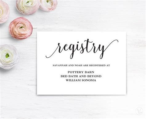 Gift Registery Card Template, Printable Wedding Registry