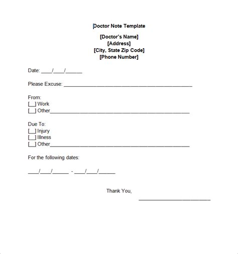 Free Doctor Note Template For Work 8 doctor note templates free sle exle