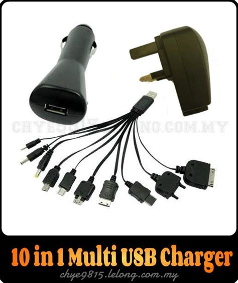 Sale Batok Kepala Charger Adaptor Hp Mp3 Usb Universal universal 10 in 1 usb charger cable and car charger adapter 11street malaysia cables adapters