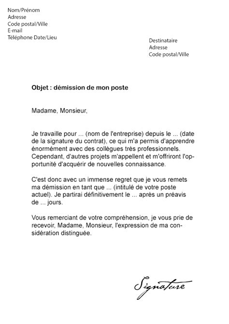 exemple lettre de demission mission interim