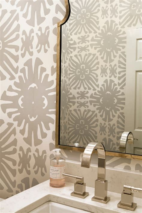 grey wallpaper powder room gray powder room wallpaper transitional bathroom