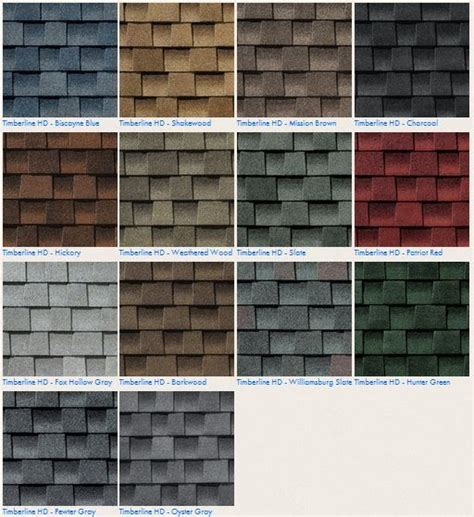 architectural shingles colors gaf timberline hd roofing shingle color options contact