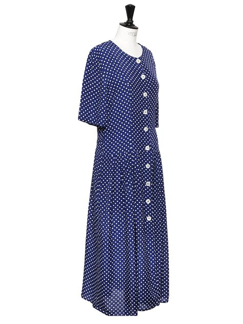 louise vintage robe longue bleu marine imprim 233
