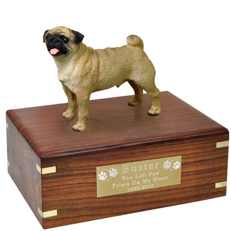 pug urns pet urns pug figurine wood urn