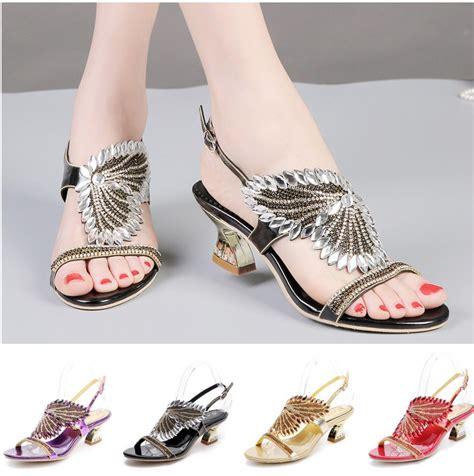 comfortable sandal heels women glitter rhinestone wedding bridal comfortable low