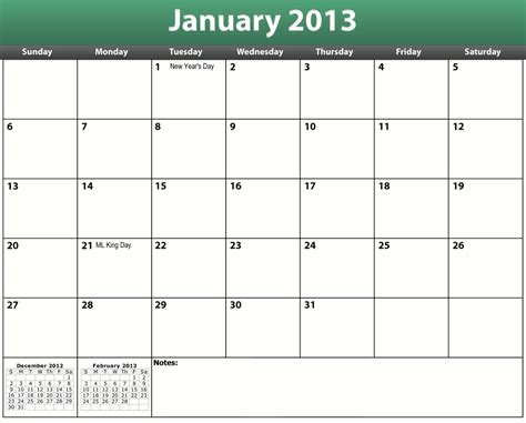 calendar template to print printable pdf 2013 calendar template