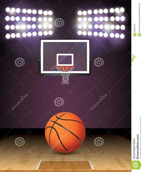 basketball courts with lights basketball court and lights ball and hoop illustration