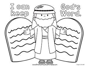 free coloring page moses 10 commandments ten commandment bible printable christian preschool