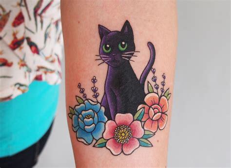 tattoo flower cat black cat with flowers by jessica channer at tattoo people