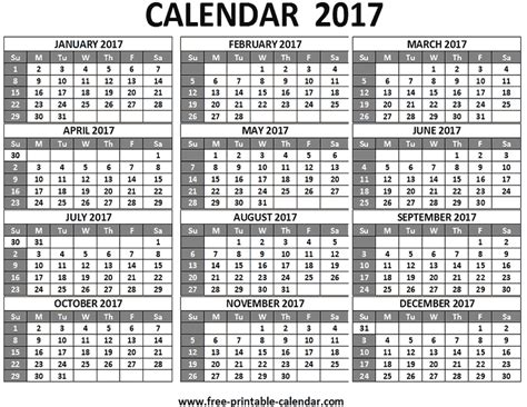 free printable 2017 calendar on one page free printable 2017 calendars download free 2017 calendar
