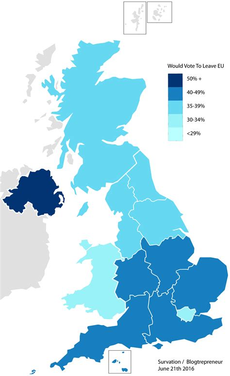 map uk eu referendum this map shows exactly which regions support leaving the eu