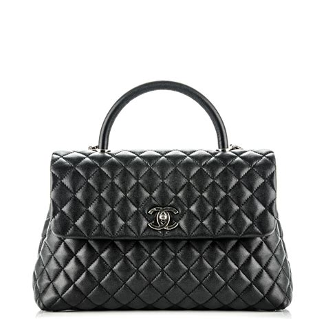 coco handle medium size chanel caviar quilted medium coco handle flap black 176897