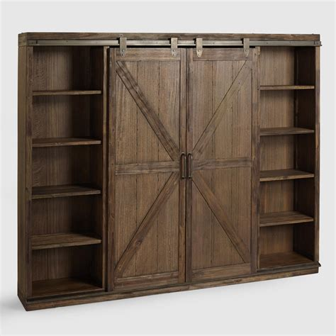 wall bookcase with doors wood farmhouse barn door bookcase world market