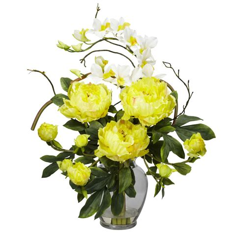 new yellow peony orchid fake artificial flower arrangement w vase ebay