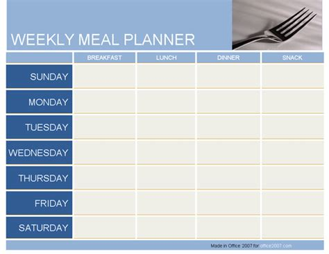 daily planner template word 2007 weekly meal planner planners templates