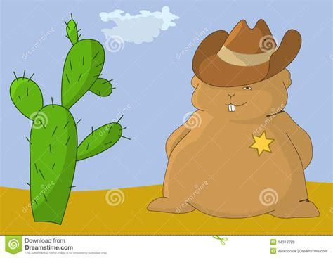 con il cuscino sceriffo cuscino con il cactus illustrazione vettoriale