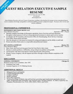 Guest Relations Executive Sle Resume by 1000 Images About Resumes On Resume Exles Resume And Resume Templates