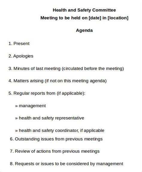 health and safety committee meeting agenda template 10 safety agenda templates free sle exle format