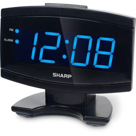 sharp blue led alarm clock black walmart
