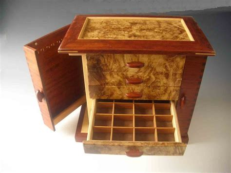 Handmade Wood Jewelry Box - standing jewelry box handmade of wood