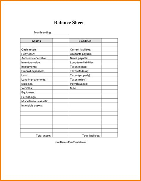 blank balance sheet template authorization letter pdf