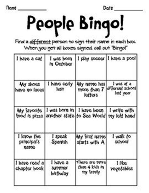 People Bingo Icebreaker Template | What to Do The First