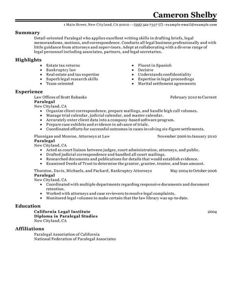 Paralegal Resumes by Best Paralegal Resume Exle Livecareer