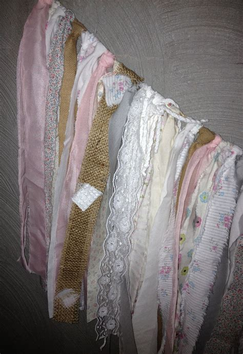 burlap lace pink baby shower shabby chic fabric garland vintage prints baby girl baby