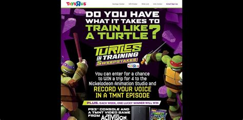 Toys R Us Sweepstakes - toys r us turtles in training sweepstakes toysrus com turtlesweeps win a once in