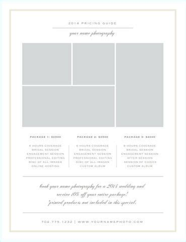 photography rate card template 7 best rate card images on photography