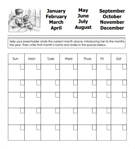 printable calendar kindergarten preschool calendar templates 9 download free documents