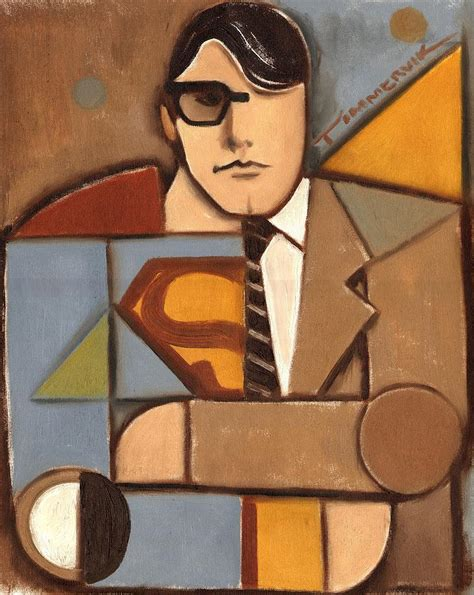 after cubism abstract cubism clark kent superman print painting by